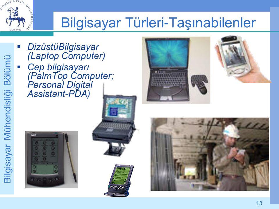 Bilgisayar Mühendisliği Bölümü 13 Bilgisayar Türleri-Taşınabilenler  DizüstüBilgisayar (Laptop Computer)  Cep bilgisayarı (PalmTop Computer; Persona