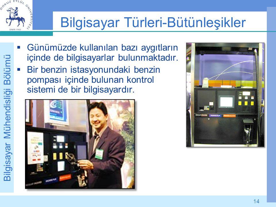 Bilgisayar Mühendisliği Bölümü 14 Bilgisayar Türleri-Bütünleşikler  Günümüzde kullanılan bazı aygıtların içinde de bilgisayarlar bulunmaktadır.  Bir