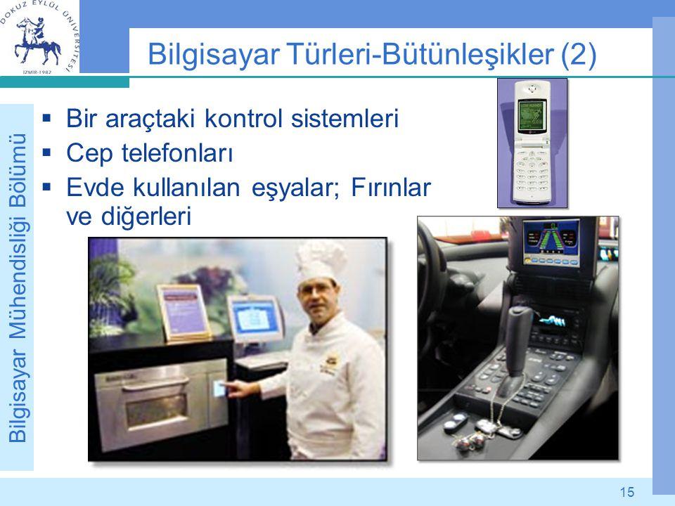 Bilgisayar Mühendisliği Bölümü 15 Bilgisayar Türleri-Bütünleşikler (2)  Bir araçtaki kontrol sistemleri  Cep telefonları  Evde kullanılan eşyalar;