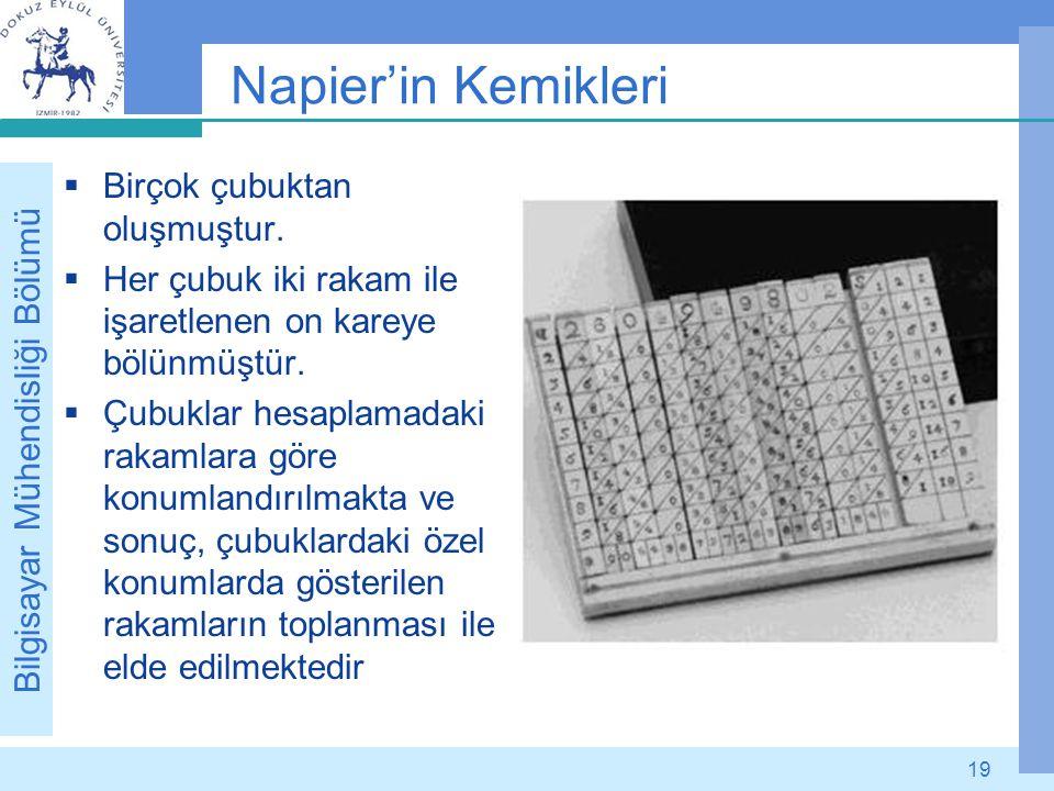 Bilgisayar Mühendisliği Bölümü 19 Napier'in Kemikleri  Birçok çubuktan oluşmuştur.  Her çubuk iki rakam ile işaretlenen on kareye bölünmüştür.  Çub