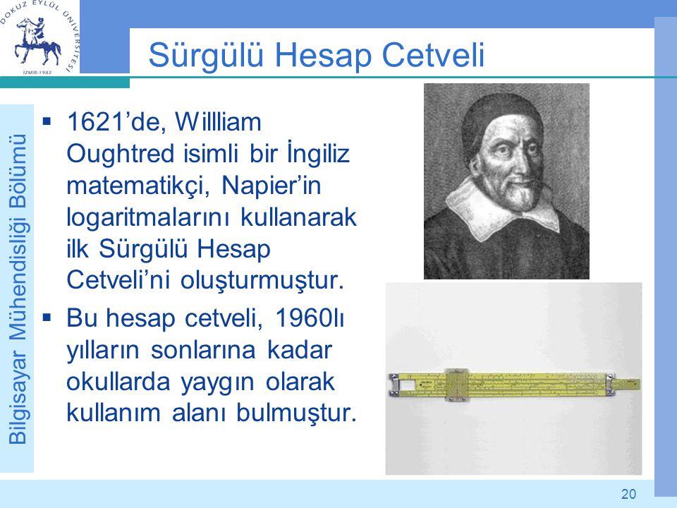 Bilgisayar Mühendisliği Bölümü 20 Sürgülü Hesap Cetveli  1621'de, Willliam Oughtred isimli bir İngiliz matematikçi, Napier'in logaritmalarını kullana
