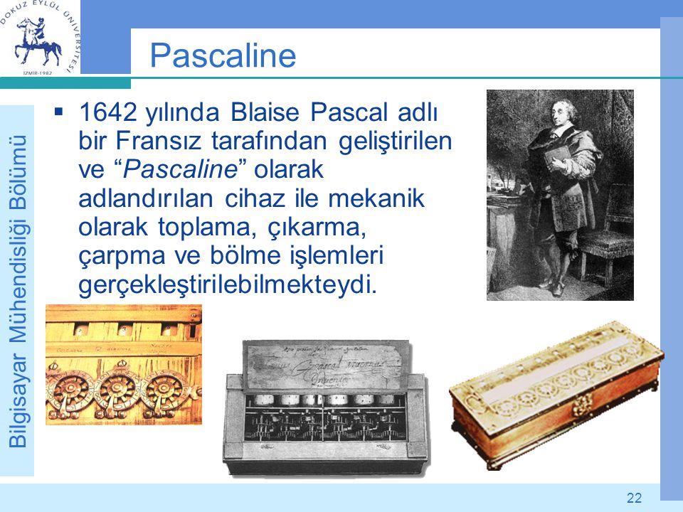 """Bilgisayar Mühendisliği Bölümü 22 Pascaline  1642 yılında Blaise Pascal adlı bir Fransız tarafından geliştirilen ve """"Pascaline"""" olarak adlandırılan c"""
