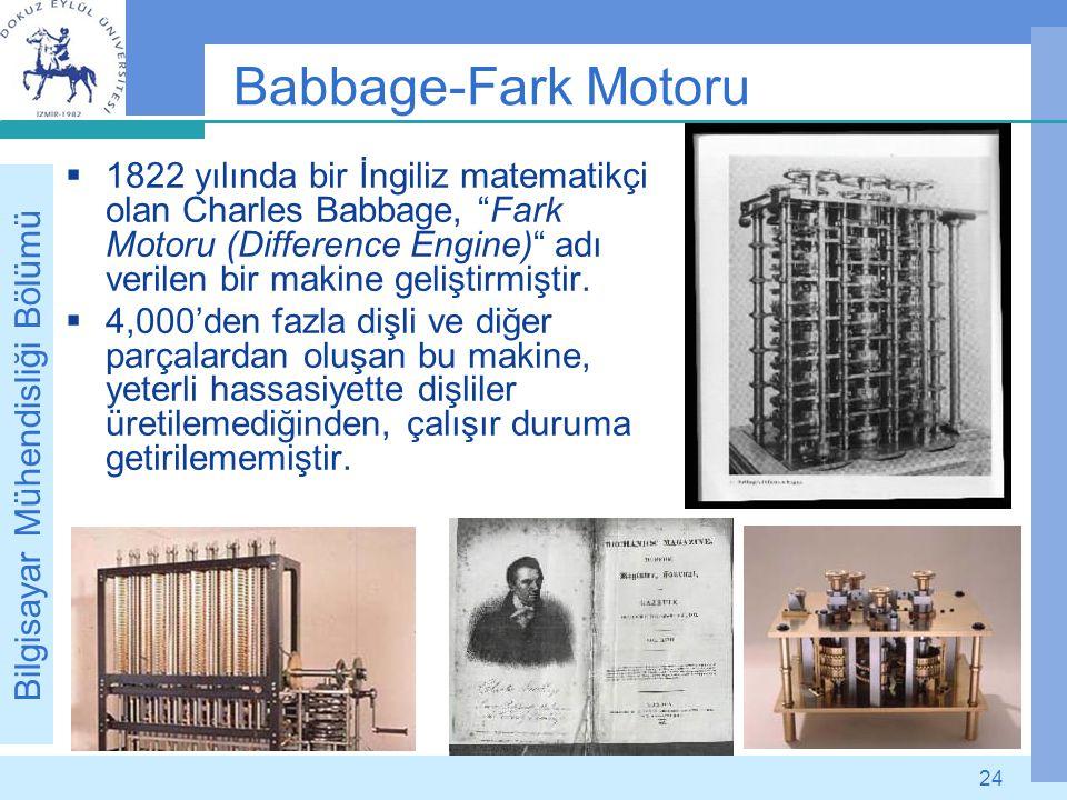 """Bilgisayar Mühendisliği Bölümü 24 Babbage-Fark Motoru  1822 yılında bir İngiliz matematikçi olan Charles Babbage, """"Fark Motoru (Difference Engine)"""" a"""