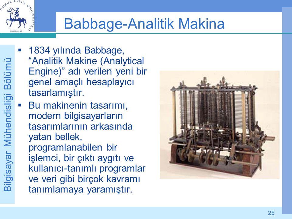 """Bilgisayar Mühendisliği Bölümü 25 Babbage-Analitik Makina  1834 yılında Babbage, """"Analitik Makine (Analytical Engine)"""" adı verilen yeni bir genel ama"""