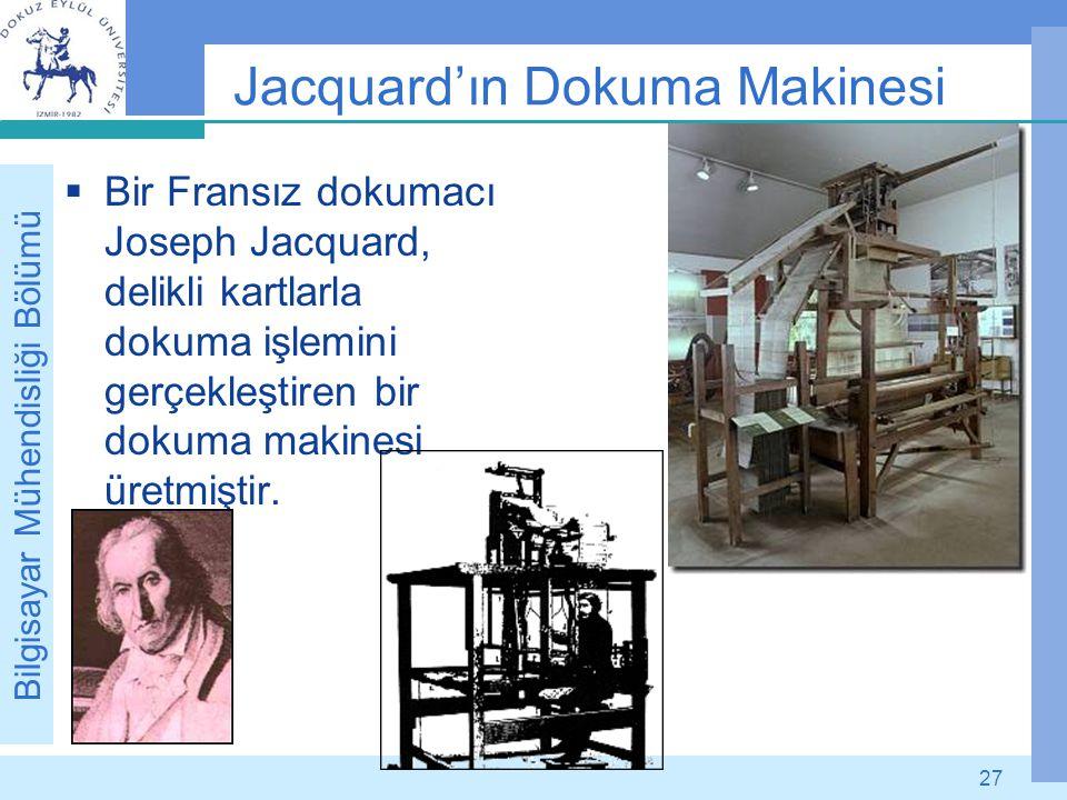 Bilgisayar Mühendisliği Bölümü 27 Jacquard'ın Dokuma Makinesi  Bir Fransız dokumacı Joseph Jacquard, delikli kartlarla dokuma işlemini gerçekleştiren