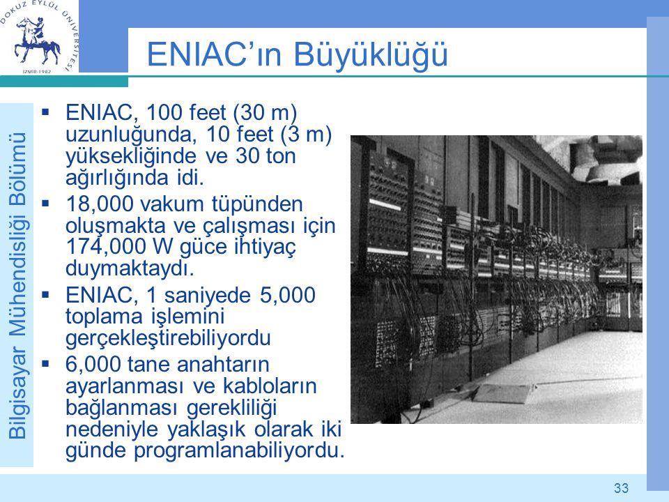 Bilgisayar Mühendisliği Bölümü 33 ENIAC'ın Büyüklüğü  ENIAC, 100 feet (30 m) uzunluğunda, 10 feet (3 m) yüksekliğinde ve 30 ton ağırlığında idi.  18