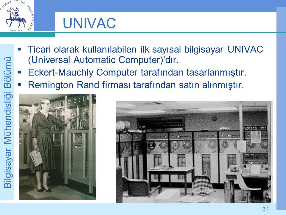 Bilgisayar Mühendisliği Bölümü 34 UNIVAC  Ticari olarak kullanılabilen ilk sayısal bilgisayar UNIVAC (Universal Automatic Computer)'dır.  Eckert-Mau