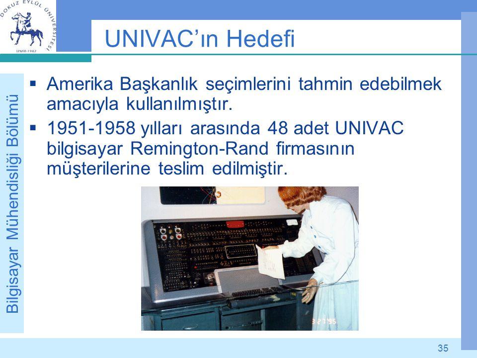 Bilgisayar Mühendisliği Bölümü 35 UNIVAC'ın Hedefi  Amerika Başkanlık seçimlerini tahmin edebilmek amacıyla kullanılmıştır.  1951-1958 yılları arası