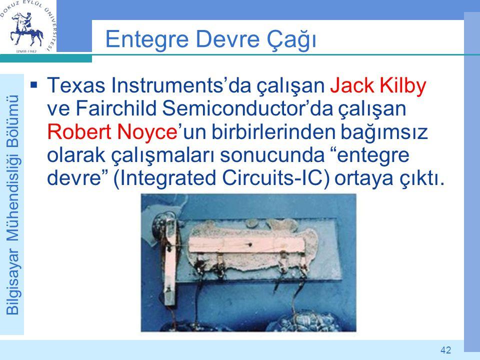 Bilgisayar Mühendisliği Bölümü 42 Entegre Devre Çağı  Texas Instruments'da çalışan Jack Kilby ve Fairchild Semiconductor'da çalışan Robert Noyce'un b
