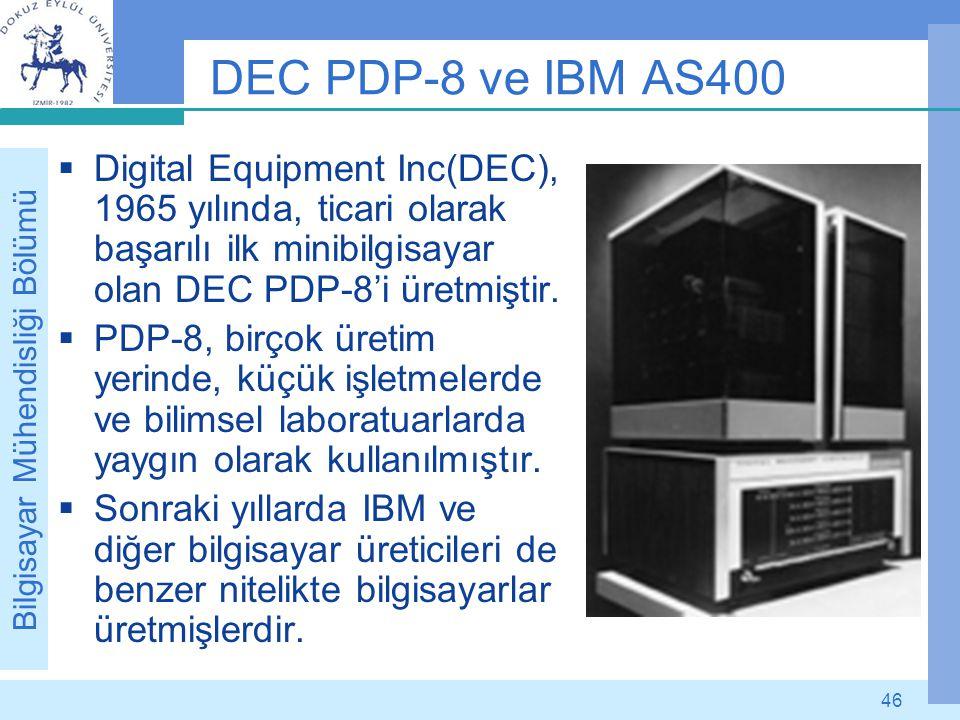Bilgisayar Mühendisliği Bölümü 46 DEC PDP-8 ve IBM AS400  Digital Equipment Inc(DEC), 1965 yılında, ticari olarak başarılı ilk minibilgisayar olan DE
