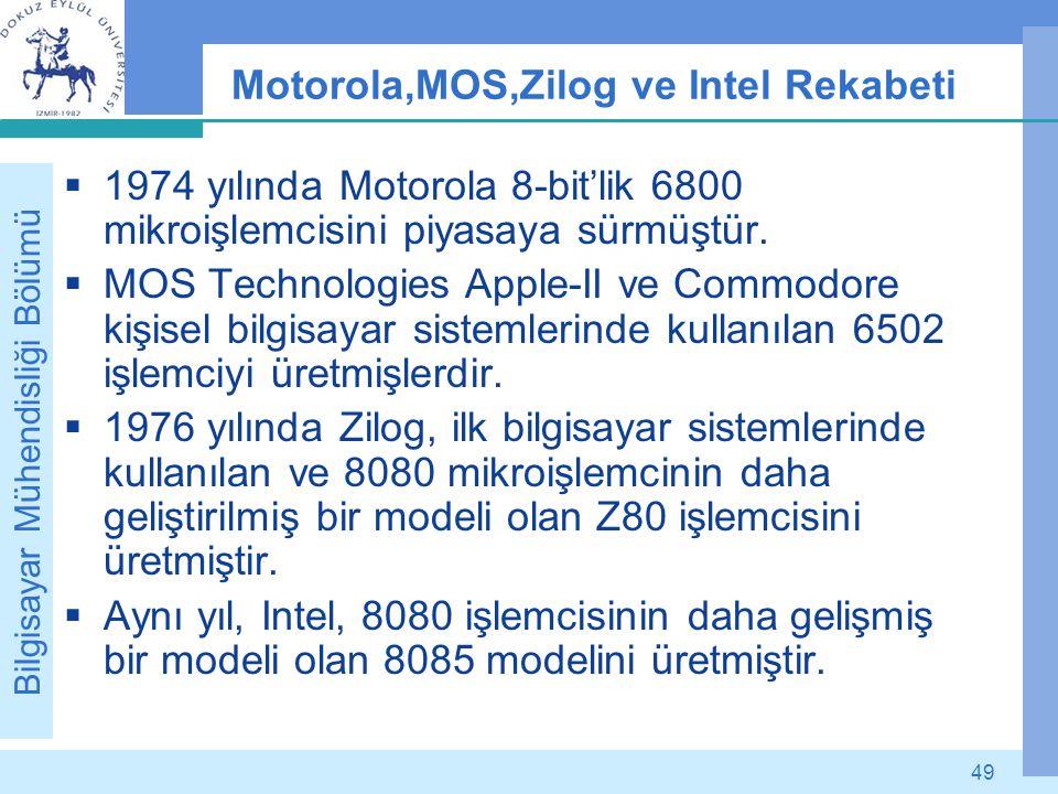 Bilgisayar Mühendisliği Bölümü 49 Motorola,MOS,Zilog ve Intel Rekabeti  1974 yılında Motorola 8-bit'lik 6800 mikroişlemcisini piyasaya sürmüştür.  M