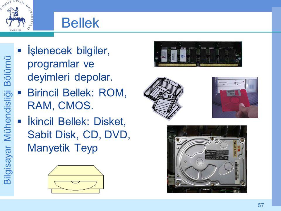 Bilgisayar Mühendisliği Bölümü 57 Bellek  İşlenecek bilgiler, programlar ve deyimleri depolar.  Birincil Bellek: ROM, RAM, CMOS.  İkincil Bellek: D