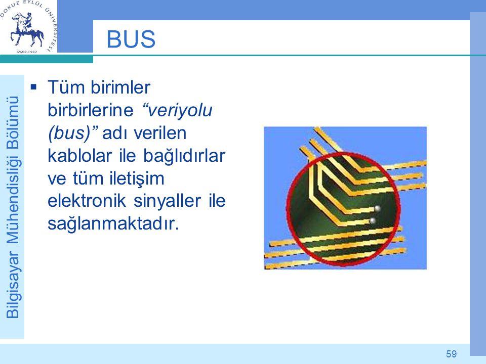 """Bilgisayar Mühendisliği Bölümü 59 BUS  Tüm birimler birbirlerine """"veriyolu (bus)"""" adı verilen kablolar ile bağlıdırlar ve tüm iletişim elektronik sin"""