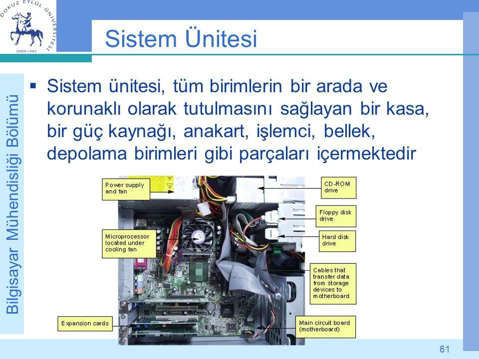 Bilgisayar Mühendisliği Bölümü 61 Sistem Ünitesi  Sistem ünitesi, tüm birimlerin bir arada ve korunaklı olarak tutulmasını sağlayan bir kasa, bir güç