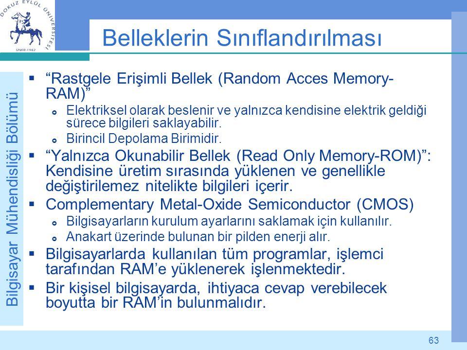 """Bilgisayar Mühendisliği Bölümü 63 Belleklerin Sınıflandırılması  """"Rastgele Erişimli Bellek (Random Acces Memory- RAM)""""  Elektriksel olarak beslenir"""