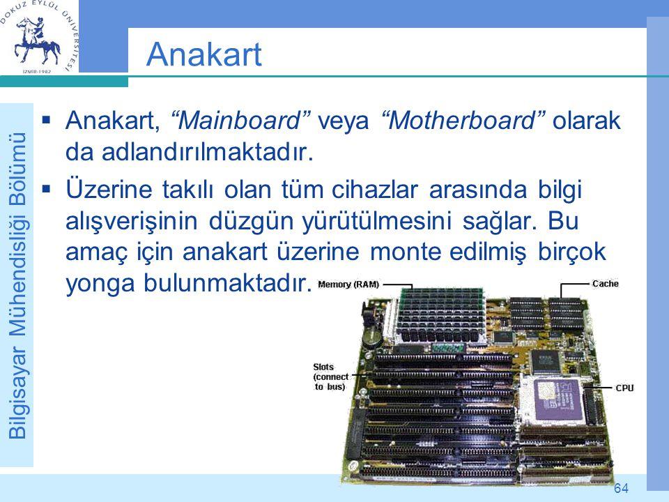 """Bilgisayar Mühendisliği Bölümü 64 Anakart  Anakart, """"Mainboard"""" veya """"Motherboard"""" olarak da adlandırılmaktadır.  Üzerine takılı olan tüm cihazlar a"""