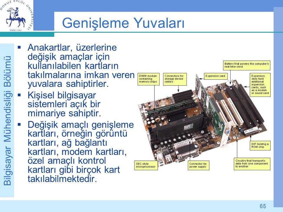 Bilgisayar Mühendisliği Bölümü 65 Genişleme Yuvaları  Anakartlar, üzerlerine değişik amaçlar için kullanılabilen kartların takılmalarına imkan veren