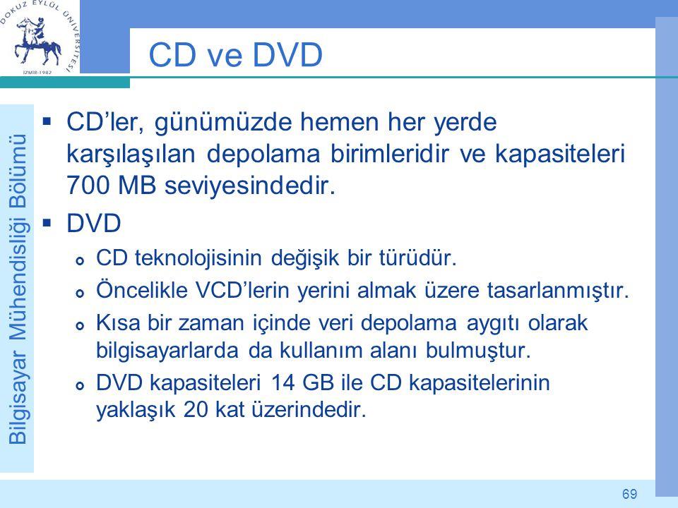 Bilgisayar Mühendisliği Bölümü 69 CD ve DVD  CD'ler, günümüzde hemen her yerde karşılaşılan depolama birimleridir ve kapasiteleri 700 MB seviyesinded