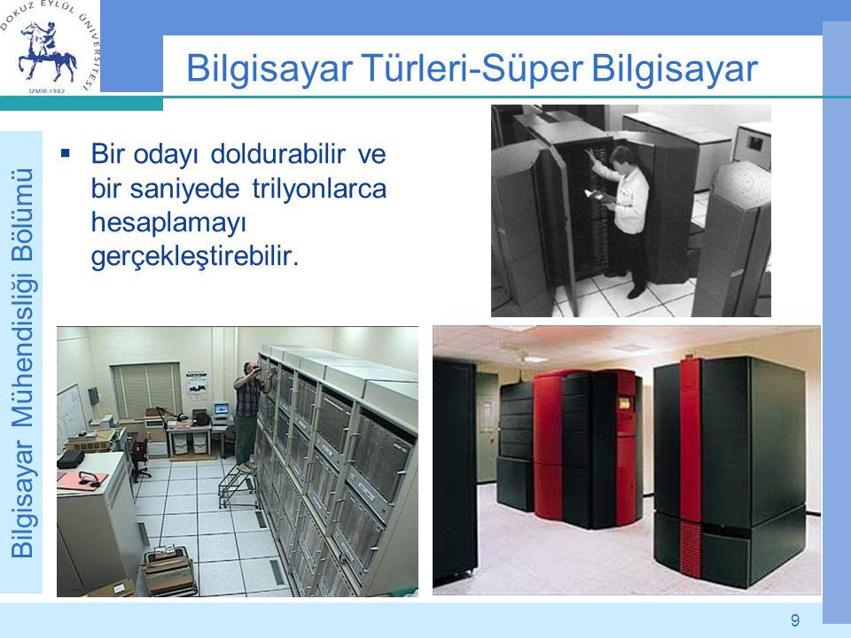 Bilgisayar Mühendisliği Bölümü 9 Bilgisayar Türleri-Süper Bilgisayar  Bir odayı doldurabilir ve bir saniyede trilyonlarca hesaplamayı gerçekleştirebi