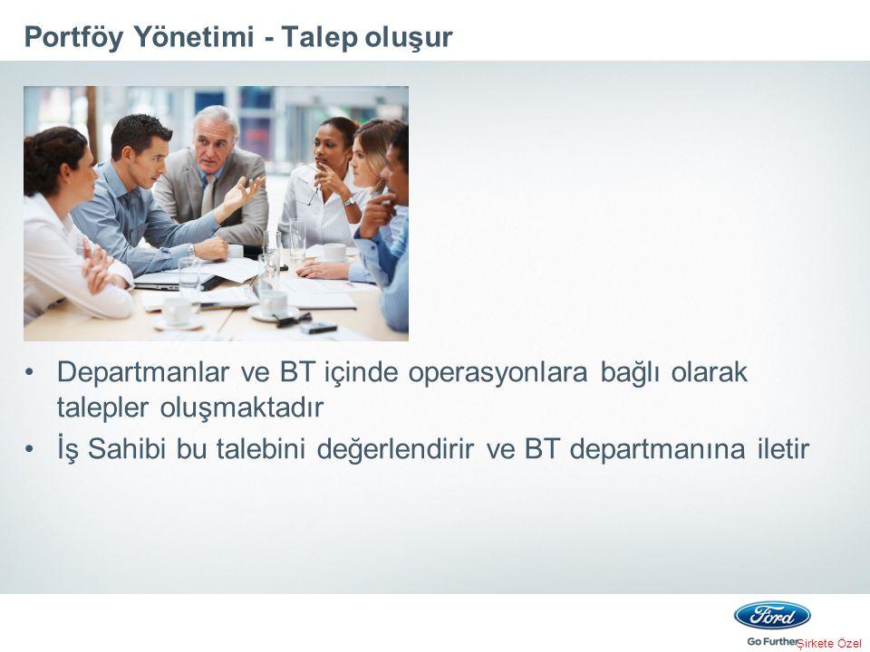 Şirkete Özel Portföy Yönetimi - Talep oluşur Departmanlar ve BT içinde operasyonlara bağlı olarak talepler oluşmaktadır İş Sahibi bu talebini değerlen