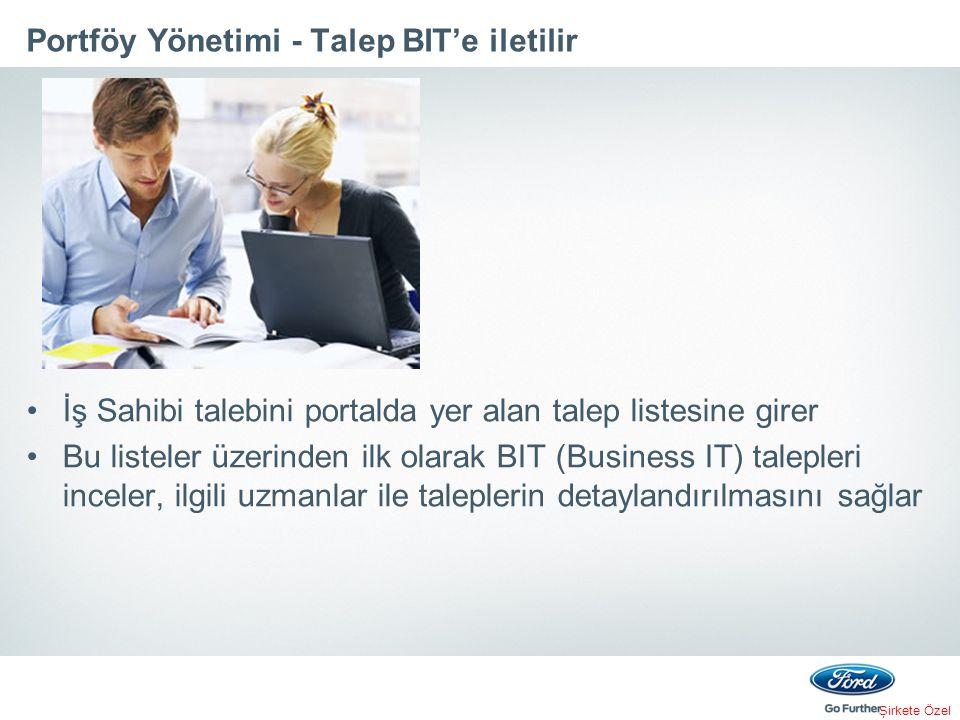 Şirkete Özel Portföy Yönetimi - Talep BIT'e iletilir İş Sahibi talebini portalda yer alan talep listesine girer Bu listeler üzerinden ilk olarak BIT (Business IT) talepleri inceler, ilgili uzmanlar ile taleplerin detaylandırılmasını sağlar