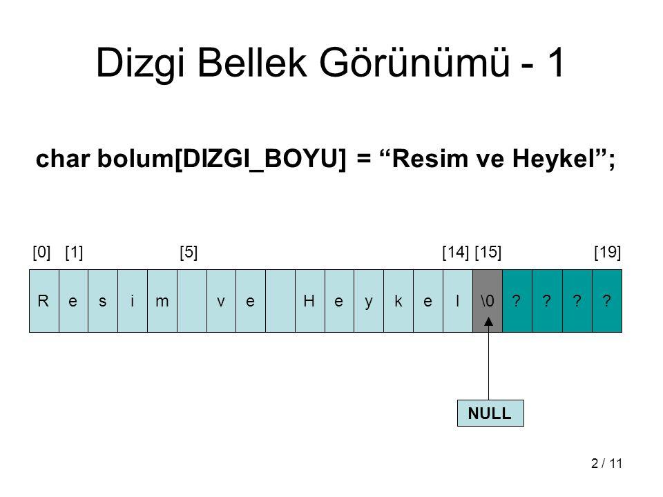"""2 / 11 Dizgi Bellek Görünümü - 1 char bolum[DIZGI_BOYU] = """"Resim ve Heykel""""; [0] [1] [5] [14] [15] [19] ResimveHeykel\0???? NULL"""