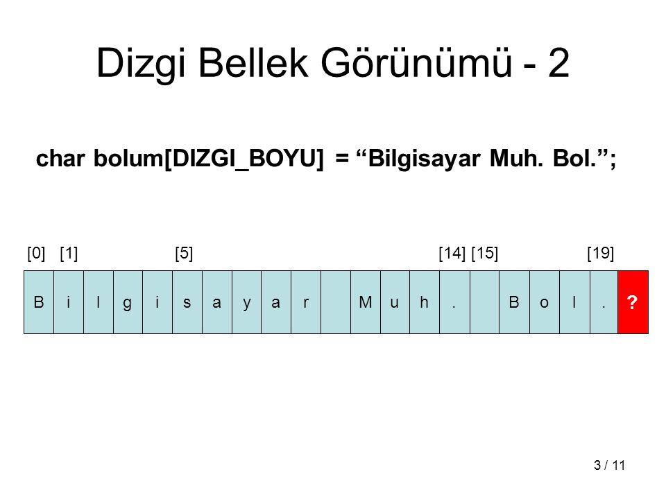 4 / 11 Dizgi Dizisi (Array of Strings) char [dizgi uzunluğu] [dizi boyu] char dersler [4][7] = { Bil131 , Bil137 , Bil191 , Mat123 };