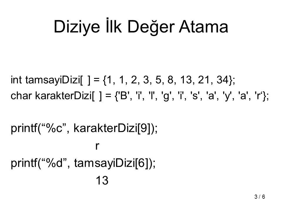 4 / 6 Dizi Parametreler void ilkDegerAta(int diziYerel[ ], int diziBoyu, int deger); void ilkDegerAta(int *diziYerel, int diziBoyu, int deger); int main (void) { int tamsayiDizi[10];...