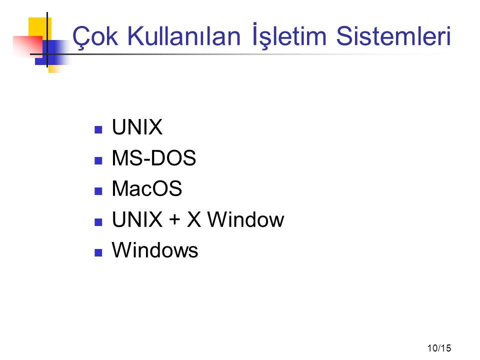 10/15 Çok Kullanılan İşletim Sistemleri UNIX MS-DOS MacOS UNIX + X Window Windows