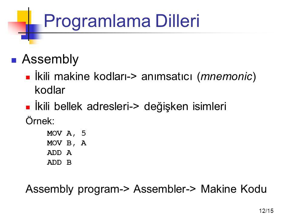 12/15 Programlama Dilleri Assembly İkili makine kodları-> anımsatıcı (mnemonic) kodlar İkili bellek adresleri-> değişken isimleri Örnek: MOV A, 5 MOV B, A ADD A ADD B Assembly program-> Assembler-> Makine Kodu