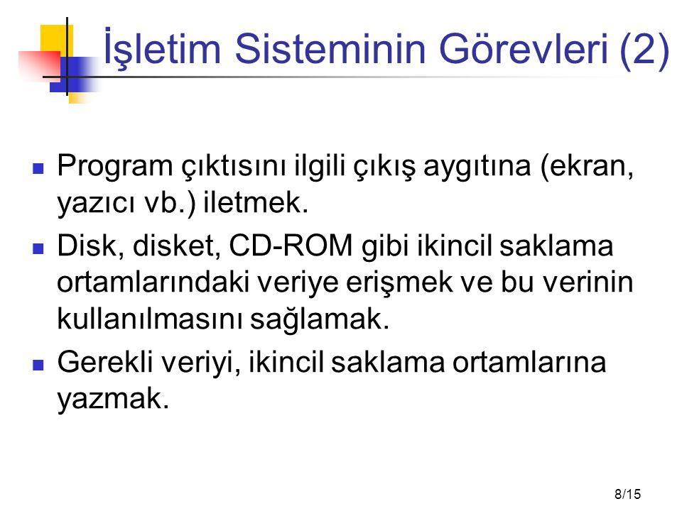 8/15 İşletim Sisteminin Görevleri (2) Program çıktısını ilgili çıkış aygıtına (ekran, yazıcı vb.) iletmek. Disk, disket, CD-ROM gibi ikincil saklama o