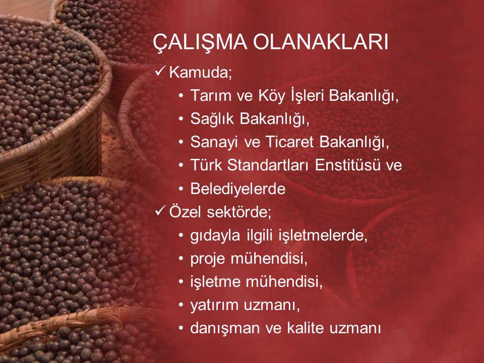ÇALIŞMA OLANAKLARI Kamuda; Tarım ve Köy İşleri Bakanlığı, Sağlık Bakanlığı, Sanayi ve Ticaret Bakanlığı, Türk Standartları Enstitüsü ve Belediyelerde