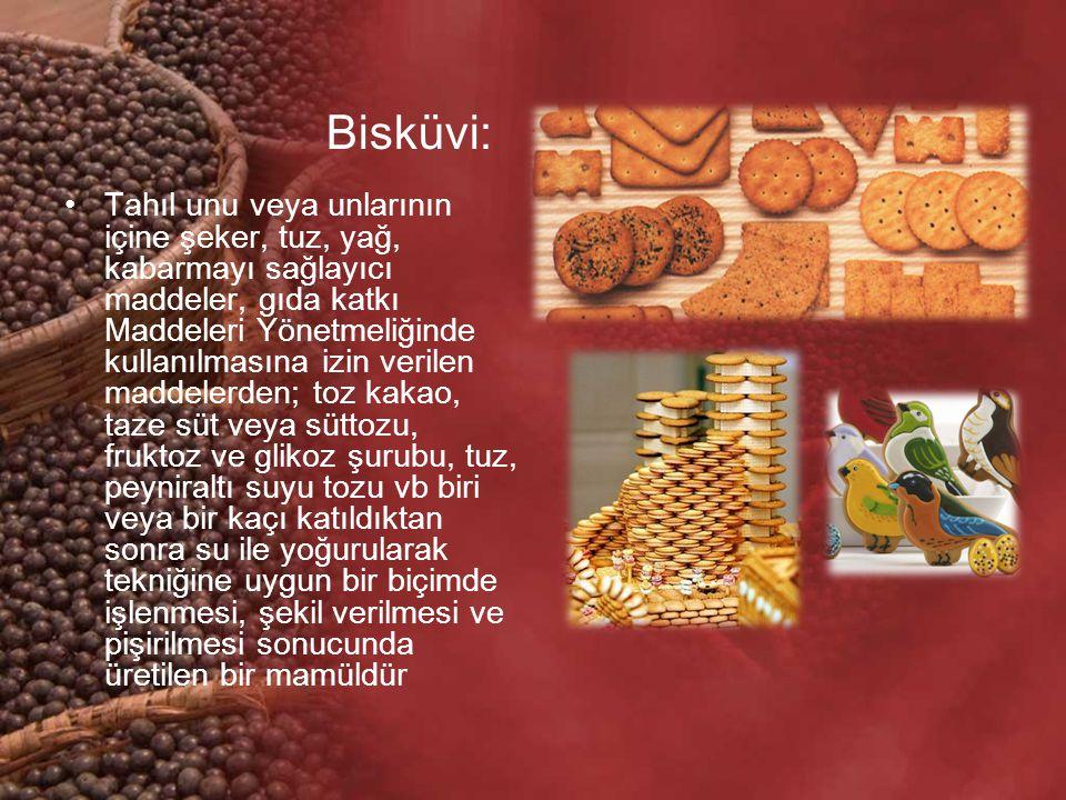 Bisküvi: Tahıl unu veya unlarının içine şeker, tuz, yağ, kabarmayı sağlayıcı maddeler, gıda katkı Maddeleri Yönetmeliğinde kullanılmasına izin verilen