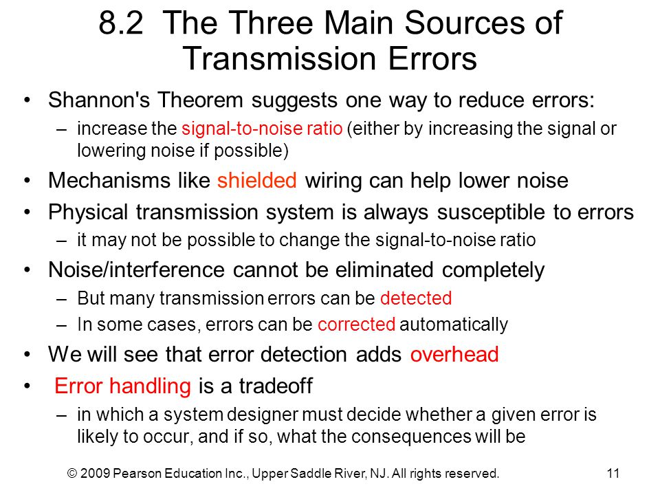 © 2009 Pearson Education Inc., Upper Saddle River, NJ. All rights reserved.11 8.2 The Three Main Sources of Transmission Errors Shannon's Theorem sugg