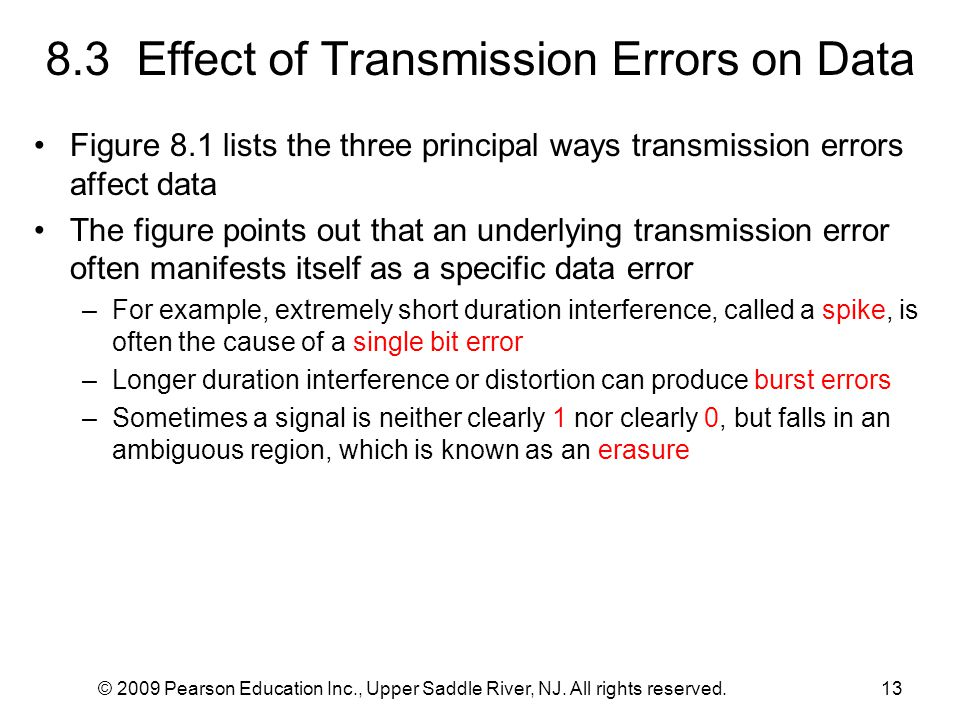© 2009 Pearson Education Inc., Upper Saddle River, NJ. All rights reserved.13 8.3 Effect of Transmission Errors on Data Figure 8.1 lists the three pri