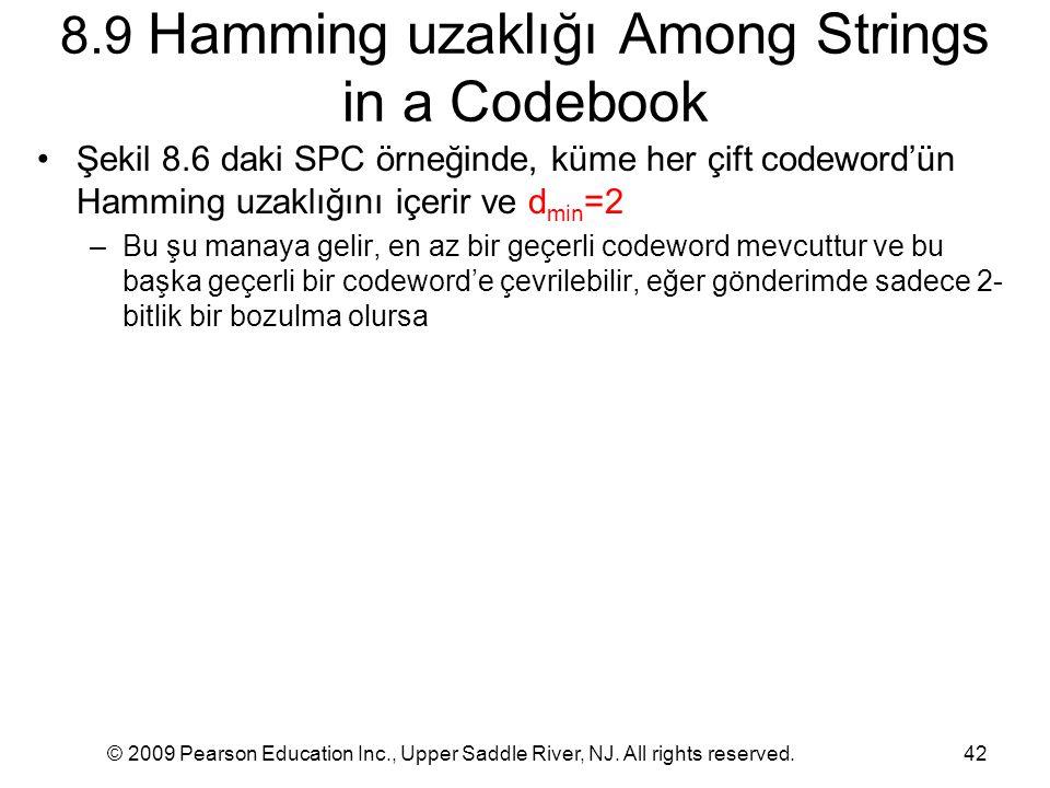 © 2009 Pearson Education Inc., Upper Saddle River, NJ. All rights reserved.42 8.9 Hamming uzaklığı Among Strings in a Codebook Şekil 8.6 daki SPC örne