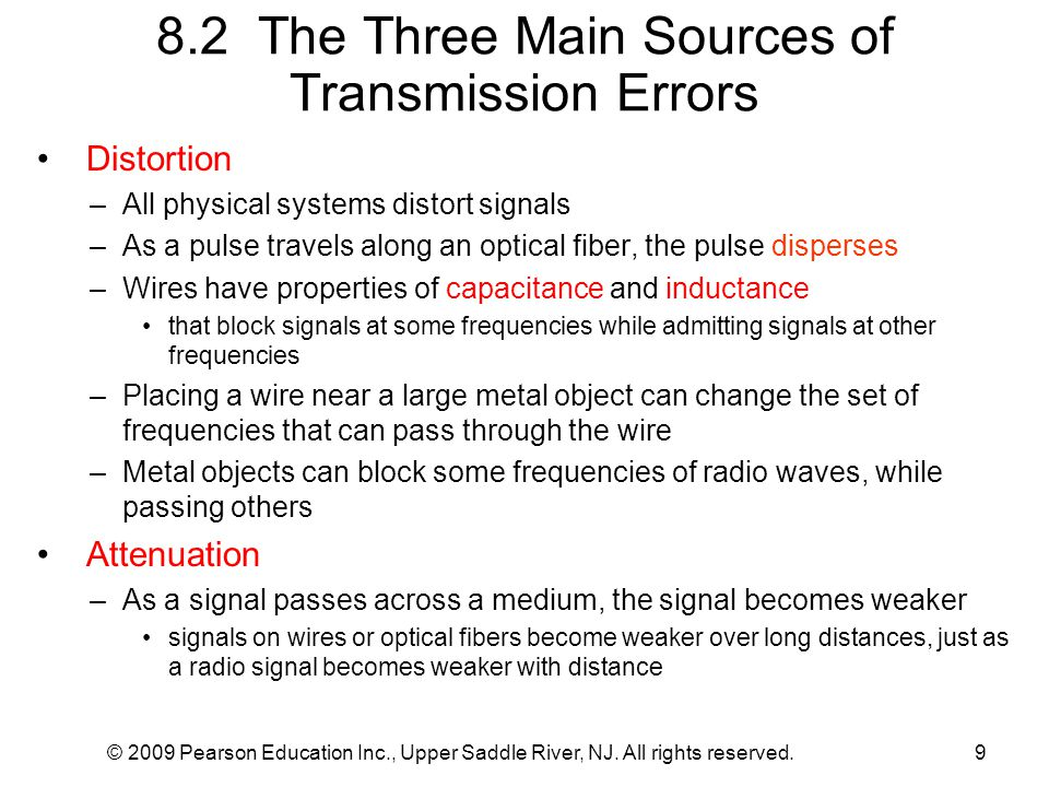 © 2009 Pearson Education Inc., Upper Saddle River, NJ. All rights reserved.9 8.2 The Three Main Sources of Transmission Errors Distortion –All physica