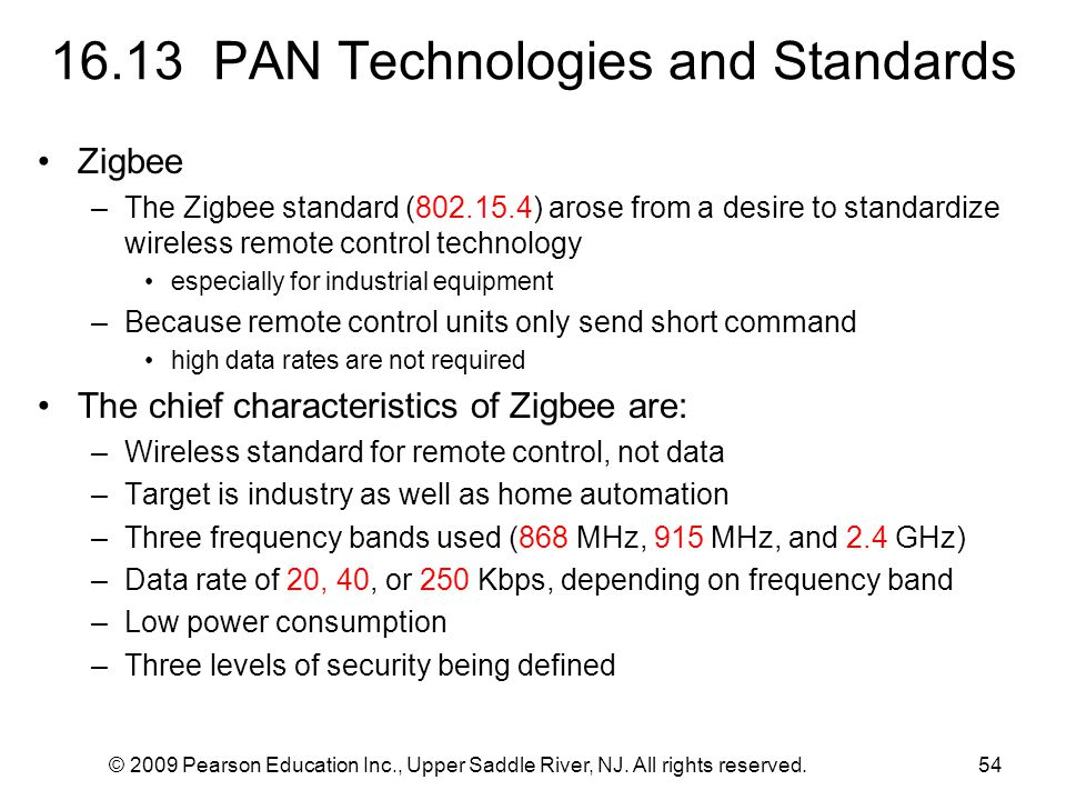 © 2009 Pearson Education Inc., Upper Saddle River, NJ. All rights reserved.54 16.13 PAN Technologies and Standards Zigbee –The Zigbee standard (802.15