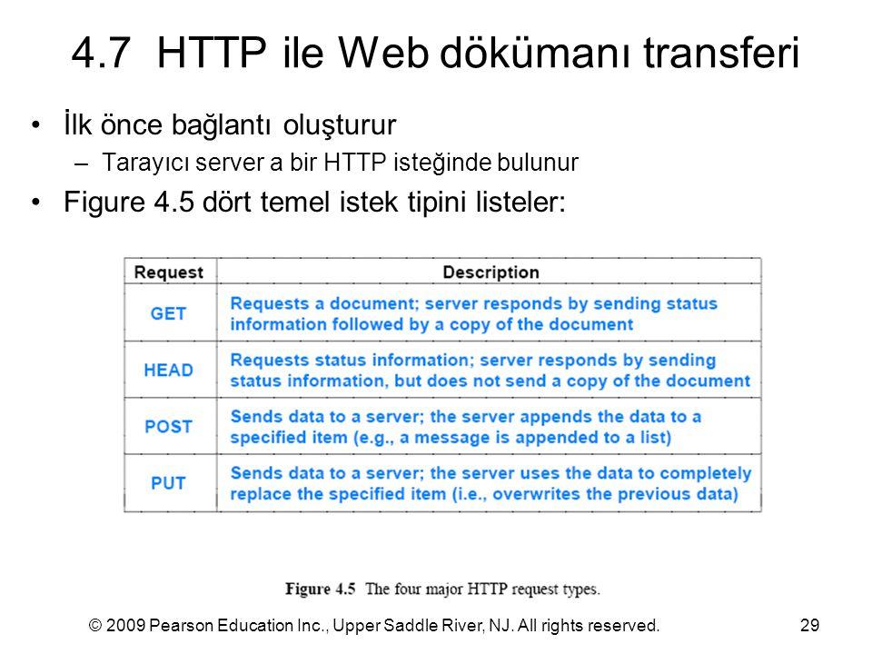 © 2009 Pearson Education Inc., Upper Saddle River, NJ. All rights reserved.29 4.7 HTTP ile Web dökümanı transferi İlk önce bağlantı oluşturur –Tarayıc