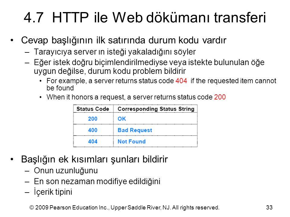 © 2009 Pearson Education Inc., Upper Saddle River, NJ. All rights reserved.33 4.7 HTTP ile Web dökümanı transferi Cevap başlığının ilk satırında durum