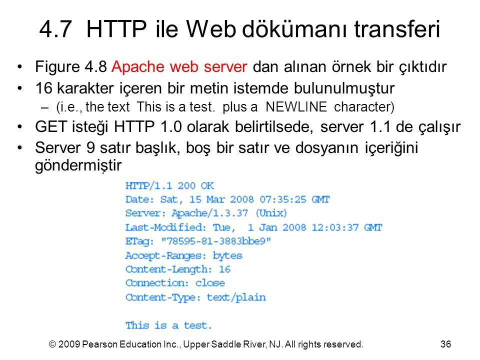 © 2009 Pearson Education Inc., Upper Saddle River, NJ. All rights reserved.36 4.7 HTTP ile Web dökümanı transferi Figure 4.8 Apache web server dan alı