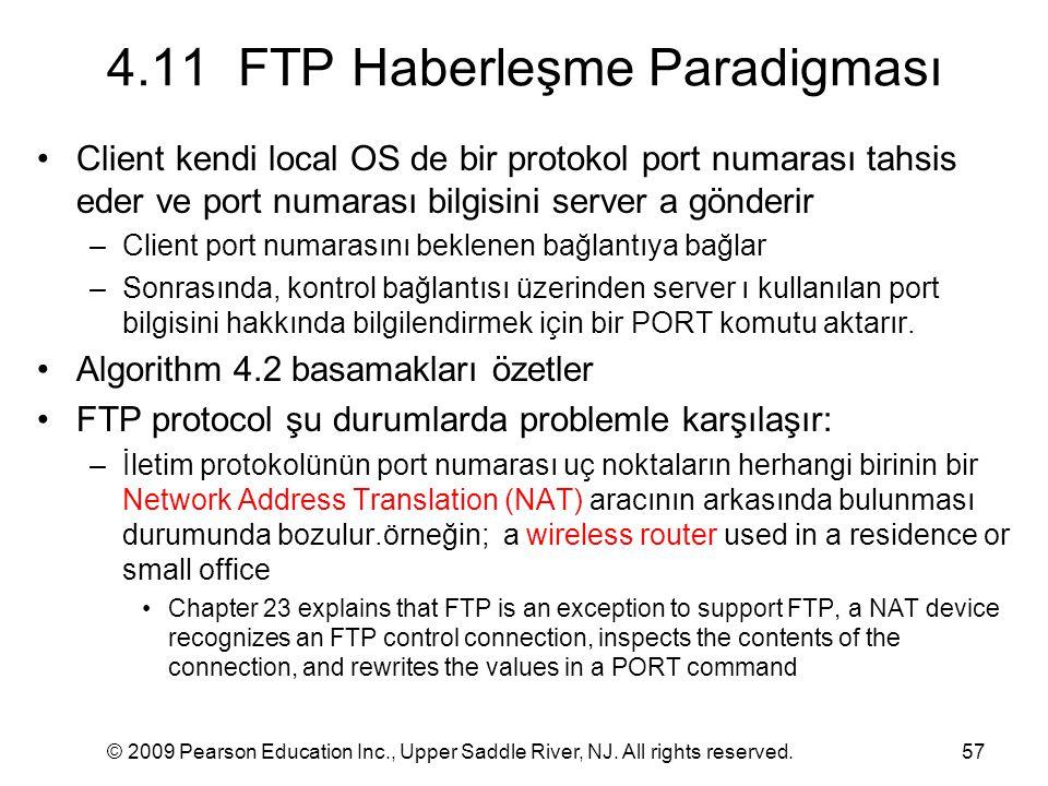 © 2009 Pearson Education Inc., Upper Saddle River, NJ. All rights reserved.57 4.11 FTP Haberleşme Paradigması Client kendi local OS de bir protokol po