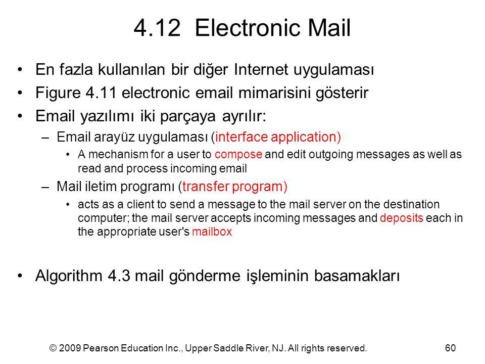 © 2009 Pearson Education Inc., Upper Saddle River, NJ. All rights reserved.60 4.12 Electronic Mail En fazla kullanılan bir diğer Internet uygulaması F