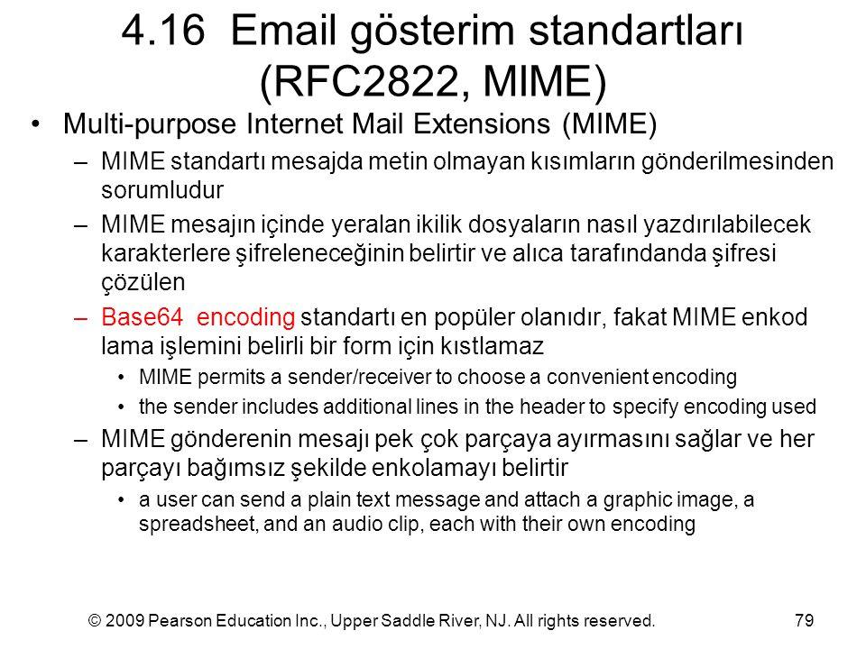 © 2009 Pearson Education Inc., Upper Saddle River, NJ. All rights reserved.79 4.16 Email gösterim standartları (RFC2822, MIME) Multi-purpose Internet