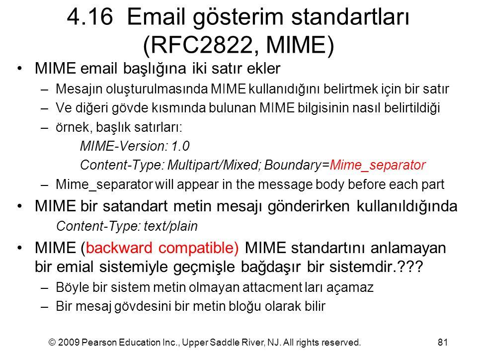 © 2009 Pearson Education Inc., Upper Saddle River, NJ. All rights reserved.81 4.16 Email gösterim standartları (RFC2822, MIME) MIME email başlığına ik