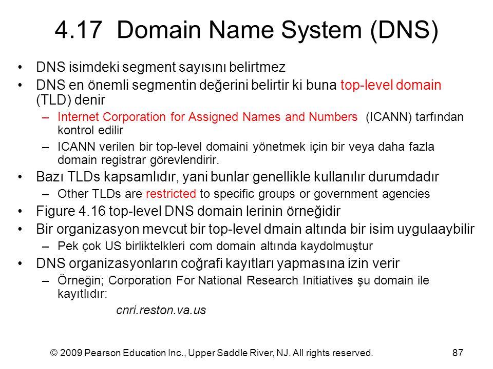 © 2009 Pearson Education Inc., Upper Saddle River, NJ. All rights reserved.87 4.17 Domain Name System (DNS) DNS isimdeki segment sayısını belirtmez DN