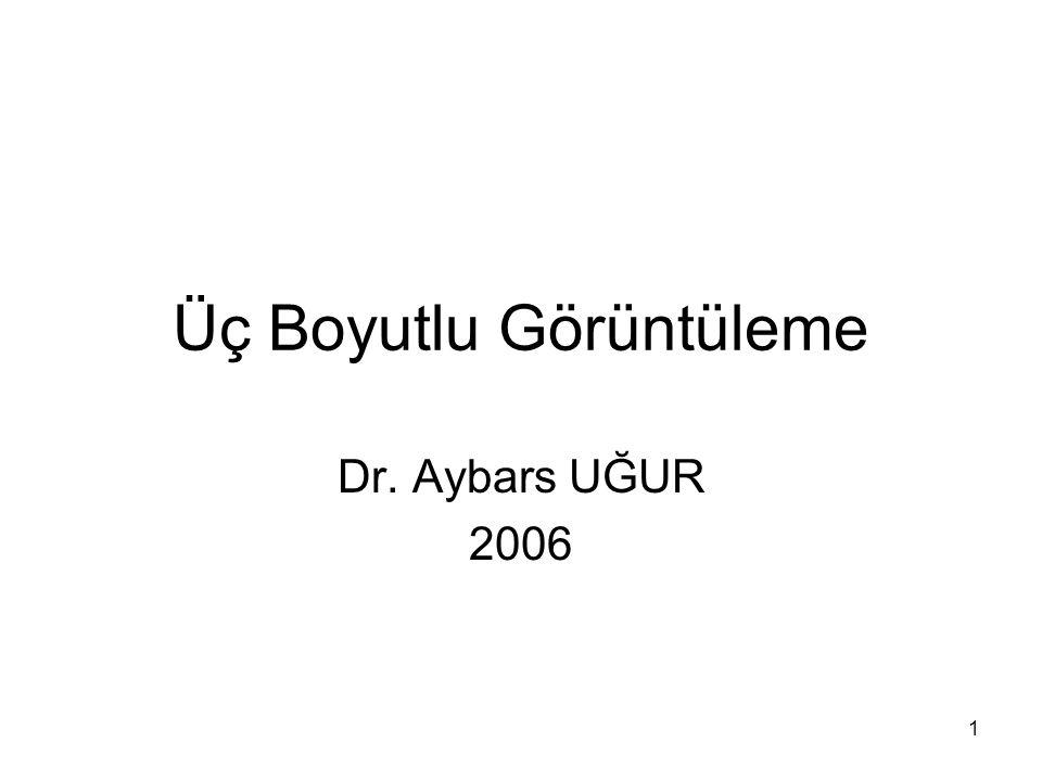 1 Üç Boyutlu Görüntüleme Dr. Aybars UĞUR 2006