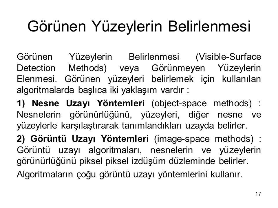 17 Görünen Yüzeylerin Belirlenmesi Görünen Yüzeylerin Belirlenmesi (Visible-Surface Detection Methods) veya Görünmeyen Yüzeylerin Elenmesi. Görünen yü