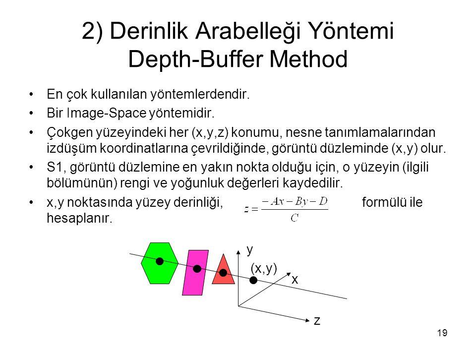 19 2) Derinlik Arabelleği Yöntemi Depth-Buffer Method En çok kullanılan yöntemlerdendir. Bir Image-Space yöntemidir. Çokgen yüzeyindeki her (x,y,z) ko