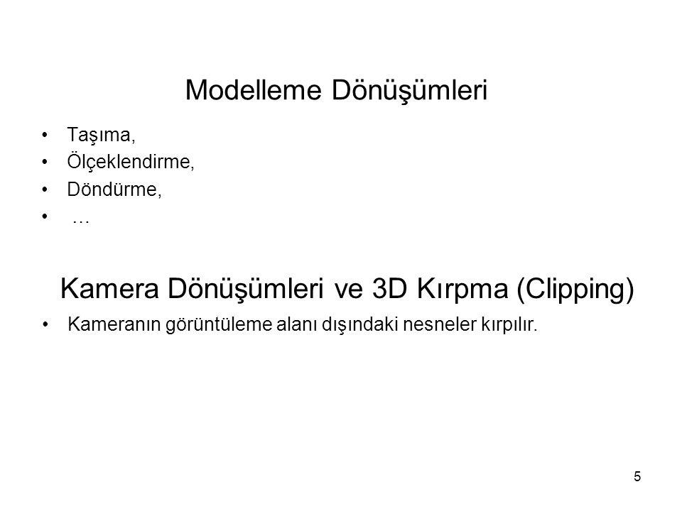 5 Modelleme Dönüşümleri Taşıma, Ölçeklendirme, Döndürme, … Kamera Dönüşümleri ve 3D Kırpma (Clipping) Kameranın görüntüleme alanı dışındaki nesneler k